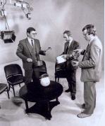 """Viena ir populiariausių Lietuvos televizijos laidų """"Labas rytas"""". Ją rengia Vytautas Kvietkauskas, Henrikas Vaitiekūnas ir Romas Jankauskas. 1987 metai"""